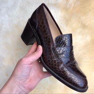 Joan & David Brown Snake Print Leather Loafer